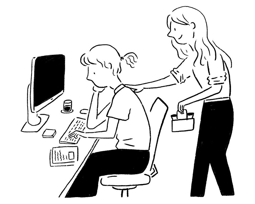 책상에 앉아 힘들어하는 여성에게 음료를 들고와 어깨를 두드리는 동료 여성이 그려진 일러스트